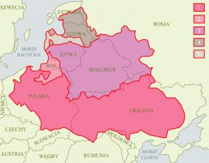 Rzeczpospolita Obojga Narodów na tle współczesnej mapy politycznej Europy Wschodniej